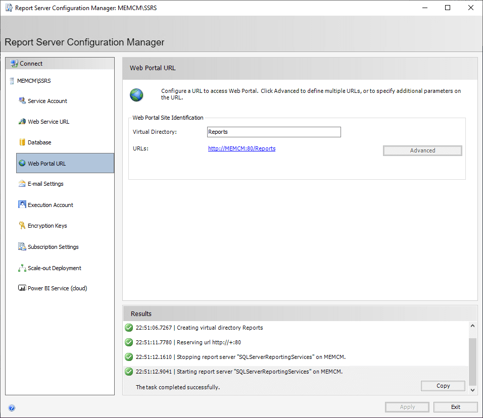 Report Server Configuration Manager Web Portal