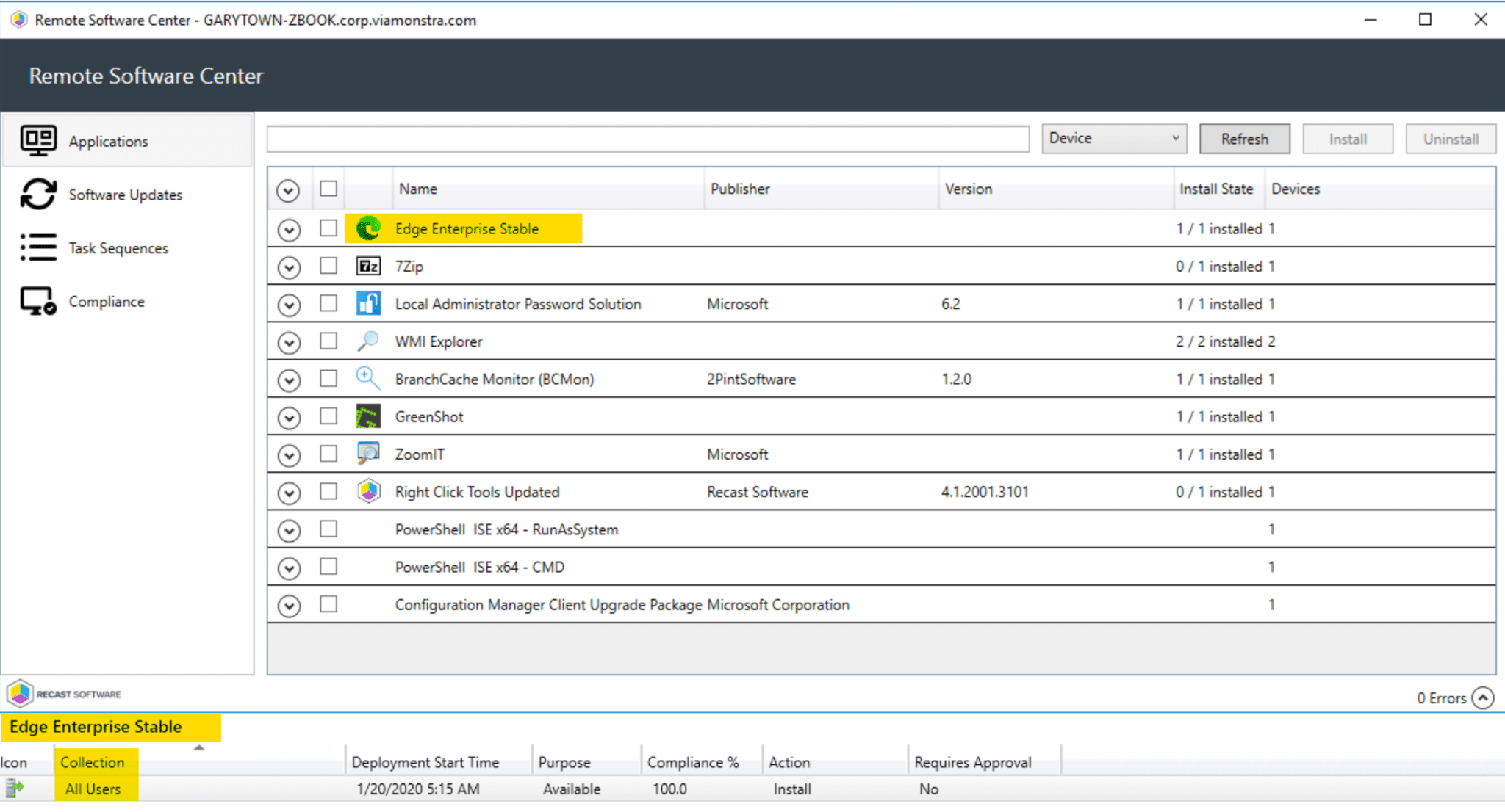 Remote Software Center Application Deployment