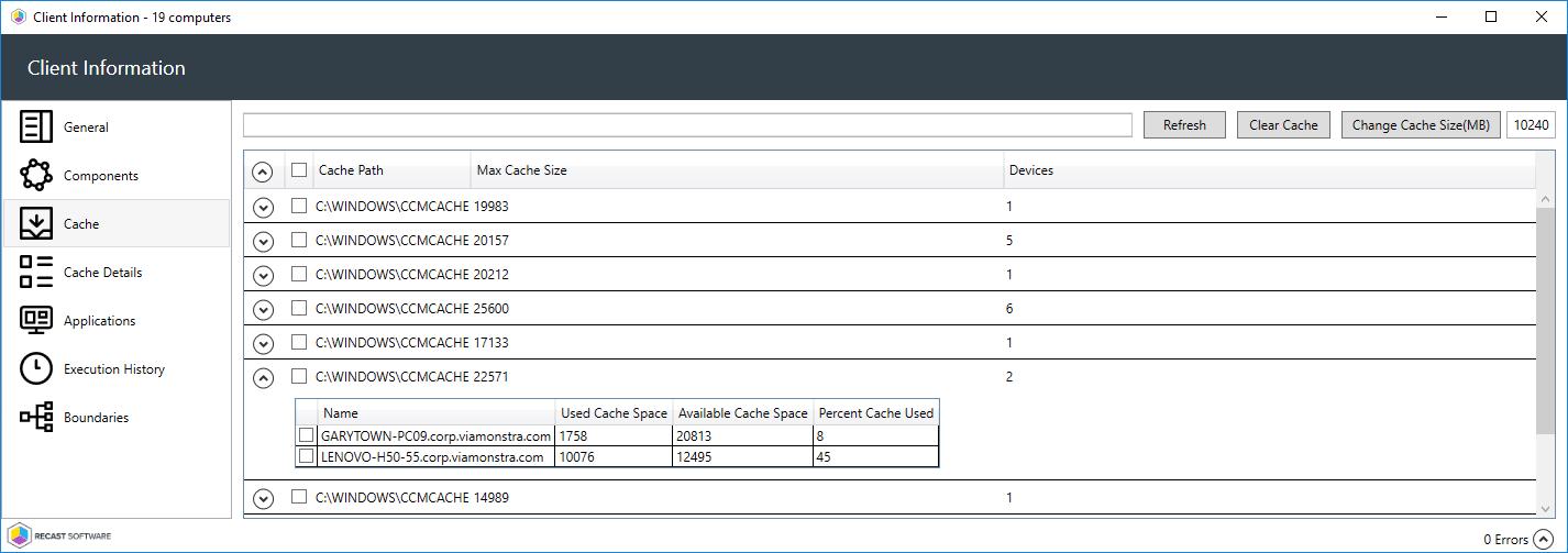 Client Info Cache Tabs