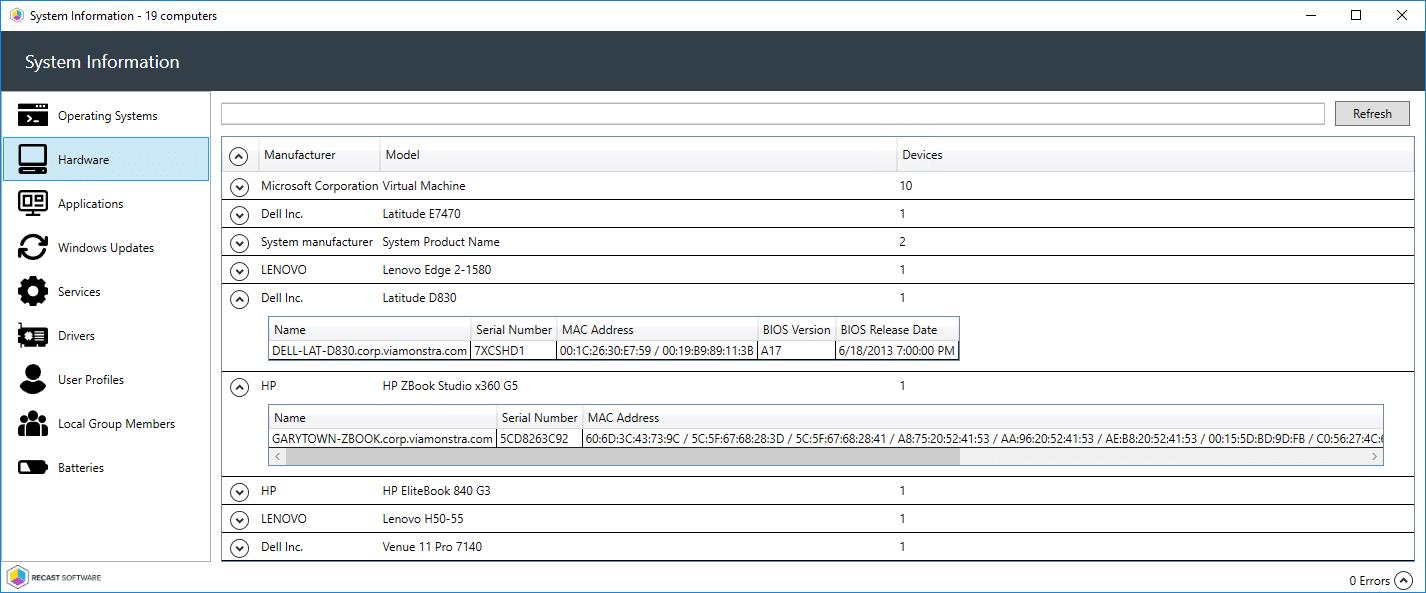 System Info Hardware Model information