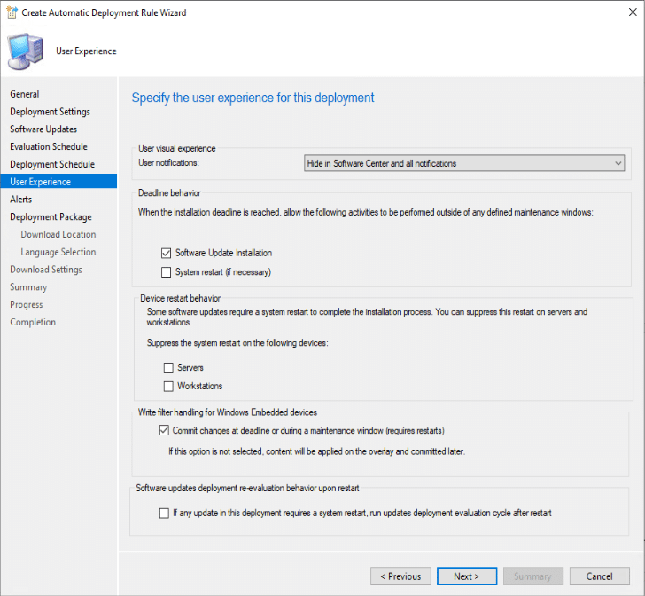 Create Automatic Deployment Rule Wizard User Experience