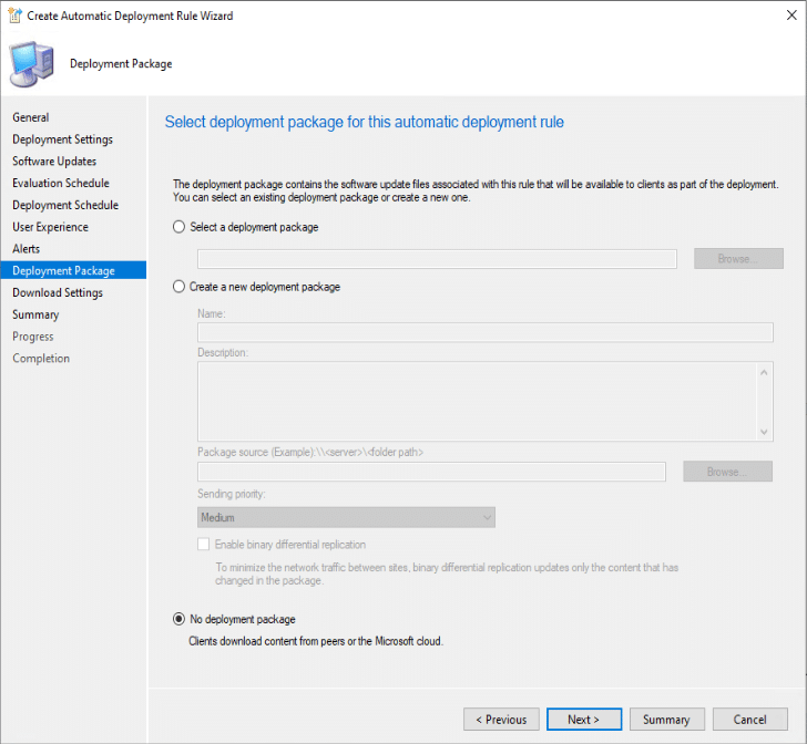 Create Automatic Deployment Rule wizard Deployment Package