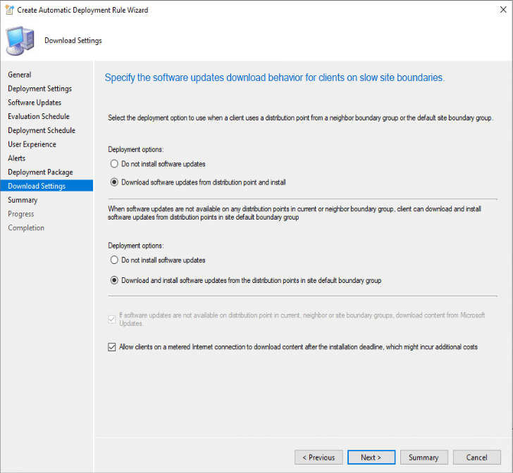 Create Automatic Deployment Rule Wizard Download Settings