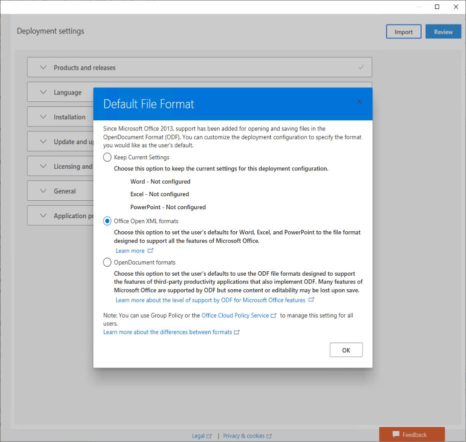 Formats XML d'Office 365