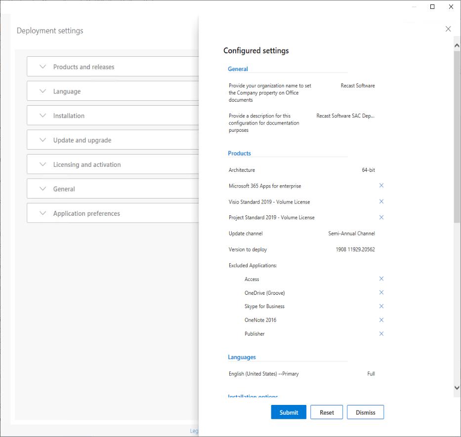 Paramètres de déploiement d'Office 365