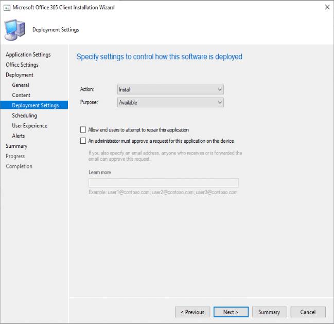 Paramètres de déploiement d'Office 365 Microsoft