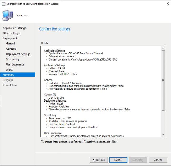 Microsoft Résumé de l'assistant d'installation du client Office 365