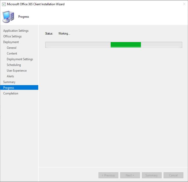 Microsoft Progression de l'assistant d'installation du client Office 365