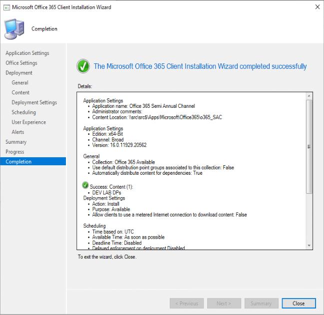 Microsoft Fin de l'assistant d'installation du client Office 365
