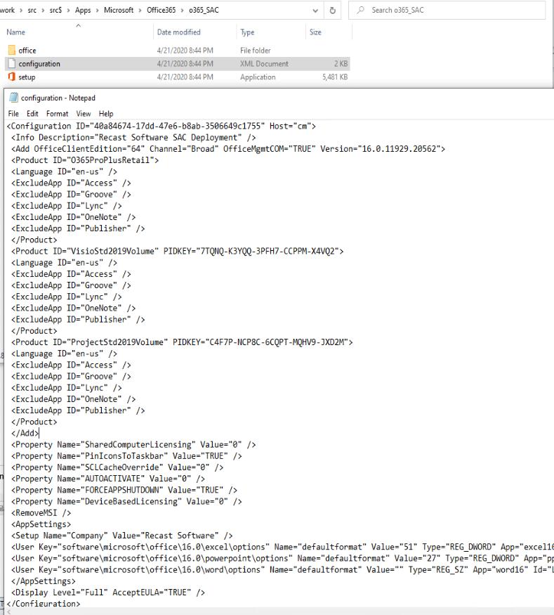 Fichier XML Office 365