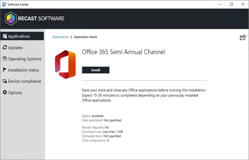Centre logiciel Office 365 Recast
