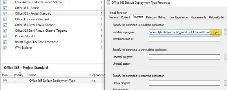 Project and Visio Deployment
