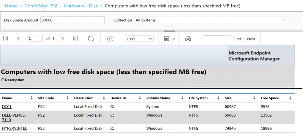 Computers with low free disk space (less than specified MB free) report