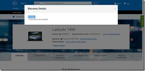 Dell Warranty Status - Warranty Details