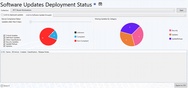 Software Updates Deployment Status - Collection Selected