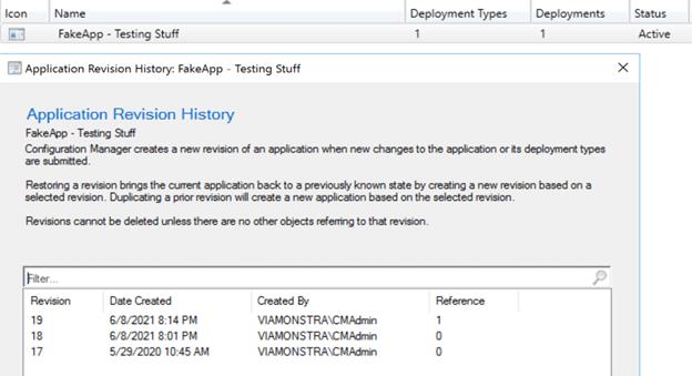 Application Revision History