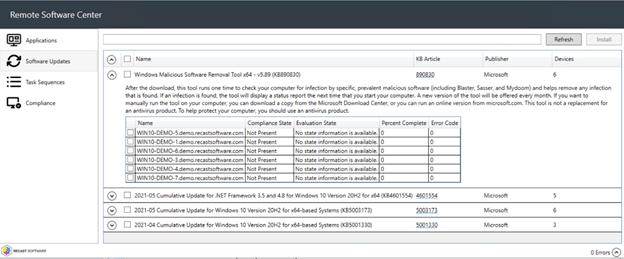 Remote Software Center - Manage Windows Updates