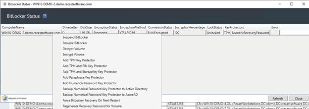 BitLocker Status - Actions