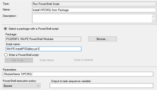 Enable PSGallery in a ConfigMgr Task Sequence - Run PowerShell Script