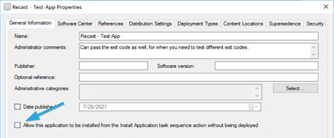 Allow this application to be installed from the Install Application task sequence action without being deployed check box.